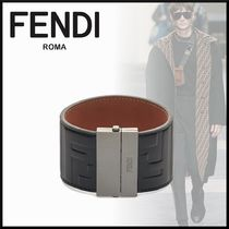 FENDI Monogram Blended Fabrics Street Style Plain Leather
