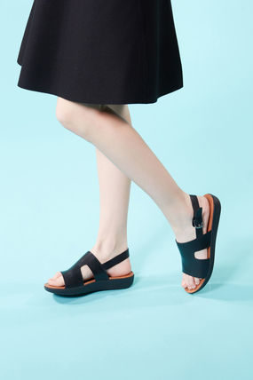 Round Toe Rubber Sole Casual Style Street Style Leather