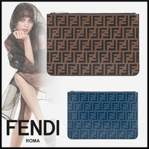 FENDI Monogram Unisex Bag in Bag Leather Clutches