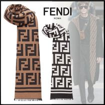 FENDI Monogram Wool Fringes Scarves