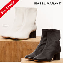 Isabel Marant Round Toe Blended Fabrics Bi-color Plain Leather Block Heels