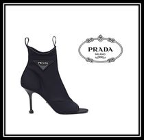 PRADA Open Toe Casual Style Plain Pin Heels Ankle & Booties Boots