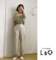 Casual Style Linen Plain Medium Cropped & Capris Pants