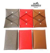 HERMES Calvi Plain Leather Card Holders