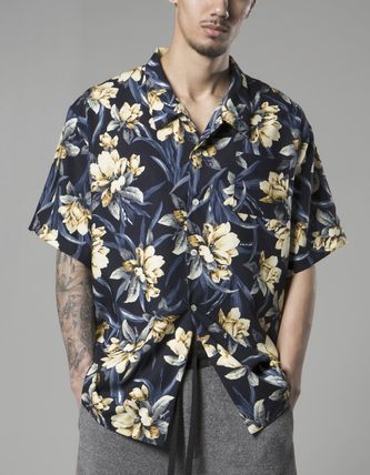 Button-down Flower Patterns Street Style Short Sleeves
