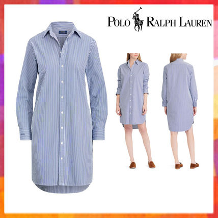 Dresses Cotton Ralph Lauren Polo Casual Sleeves Stripes Style Long 4Rq53AjL