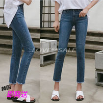 Plain Long Short Length Jeans