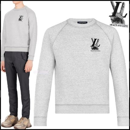 Louis Vuitton Sweatshirts Crew Neck Pullovers Street Style Long Sleeves Plain Cotton