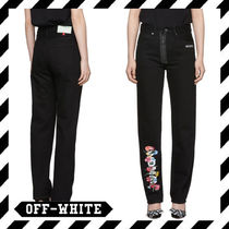 Off-White Flower Patterns Casual Style Street Style Plain Cotton Long