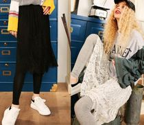 ELF SACK Flower Patterns Casual Style Sweat Street Style Long