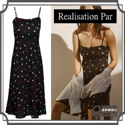 Dots Casual Style Silk Sleeveless Medium Slip Dresses