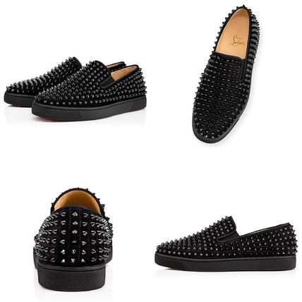 f29f6d31cb2a Christian Louboutin Loafers   Slip-ons Suede Studded Plain Handmade Loafers  ...