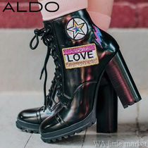 ALDO Round Toe Lace-up Casual Style Faux Fur Block Heels