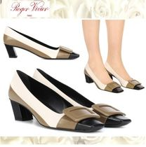Roger Vivier Square Toe Leather Office Style Chunky Heels