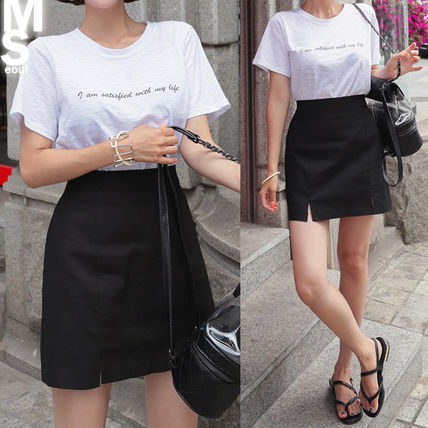 Street Style U-Neck Medium Short Sleeves T-Shirts
