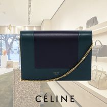 CELINE Chain Plain Leather Elegant Style Clutches