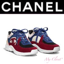 CHANEL Tropical Patterns Unisex Suede Street Style Bi-color