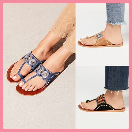 Open Toe Casual Style Leather Tribal Sandals