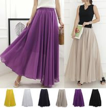 Flared Skirts Cotton Long Maxi Skirts