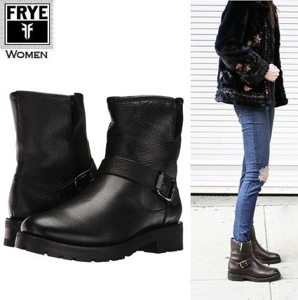 Casual Style Plain Leather Mid Heel Boots