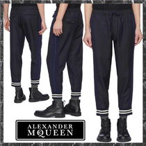 alexander mcqueen Stripes Wool Cropped Pants