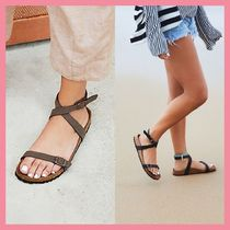Free People Open Toe Casual Style Plain Footbed Sandals Flat Sandals