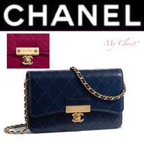 CHANEL Other Check Patterns Street Style 2WAY Chain Plain Leather