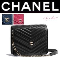CHANEL ICON Stripes Calfskin Street Style 2WAY Chain Plain Elegant Style