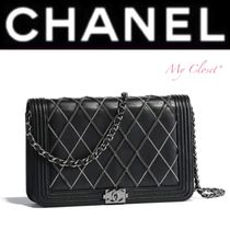 CHANEL BOY CHANEL Other Check Patterns Lambskin Blended Fabrics Street Style