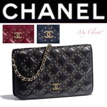 CHANEL MATELASSE Other Check Patterns Lambskin Studded Street Style 2WAY