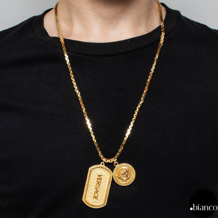 VERSACE Unisex Street Style Metal Logo Necklaces & Chokers