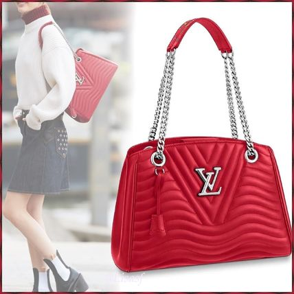 013052809811 ... Louis Vuitton Totes Blended Fabrics 3WAY Chain Plain Leather Elegant  Style Totes ...