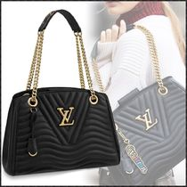 Louis Vuitton Blended Fabrics 2WAY Chain Plain Leather Elegant Style Totes