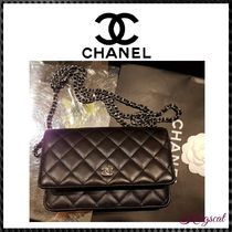 CHANEL Lambskin 2WAY Chain Plain Elegant Style Shoulder Bags