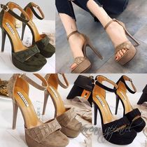 Open Toe Suede Plain Pin Heels Elegant Style Heeled Sandals