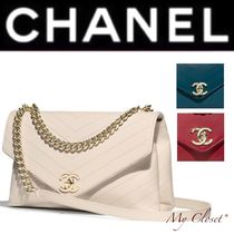 CHANEL ICON Calfskin Street Style 2WAY Chain Plain Elegant Style