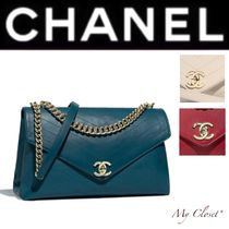 CHANEL ICON Stripes Calfskin Street Style A4 2WAY Chain Plain