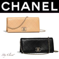 CHANEL ICON Other Check Patterns Lambskin Street Style Chain Plain