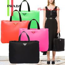 PRADA Casual Style Unisex Nylon Blended Fabrics A4 2WAY Plain