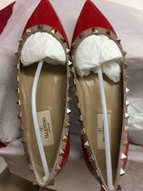 VALENTINO Plain Leather Block Heels Elegant Style Ballet Shoes