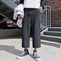 Stripes Street Style Cotton Cropped Pants