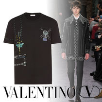 VALENTINO Crew Neck Cotton Short Sleeves With Jewels