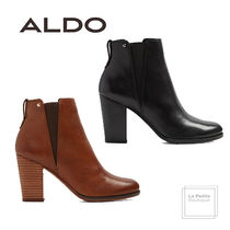 ALDO Plain Toe Casual Style Studded Plain Leather Block Heels