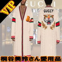 GUCCI Cable Knit Stripes Casual Style Wool Long Sleeves Plain