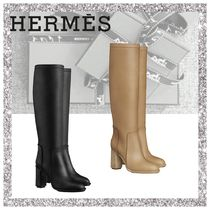 HERMES Plain Toe Plain Leather Block Heels High Heel Boots