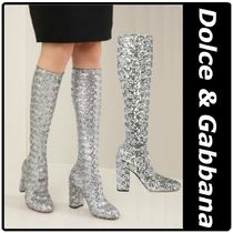 Dolce & Gabbana Round Toe Plain Leather Chunky Heels Over-the-Knee Boots