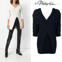 3.1 Phillip Lim Cable Knit Wool V-Neck Cropped Plain Long Elegant Style