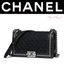 CHANEL BOY CHANEL Other Check Patterns Dots Calfskin Blended Fabrics 2WAY