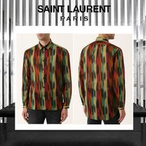 Saint Laurent Stripes Camouflage Long Sleeves Cotton Shirts