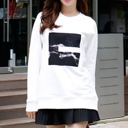 Crew Neck Casual Style Long Sleeves Cotton